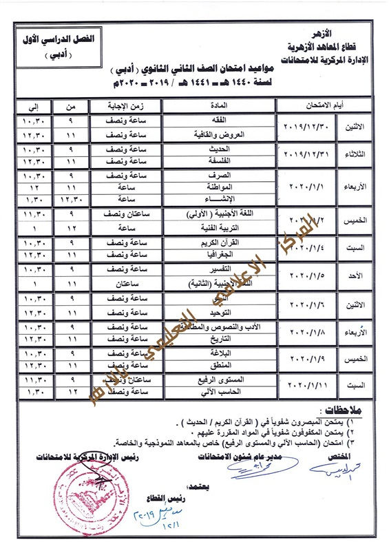جدول مواعيد امتحانات صفوف ابتدائي واعدادي وثانوي 2019-2020 بالازهر 306