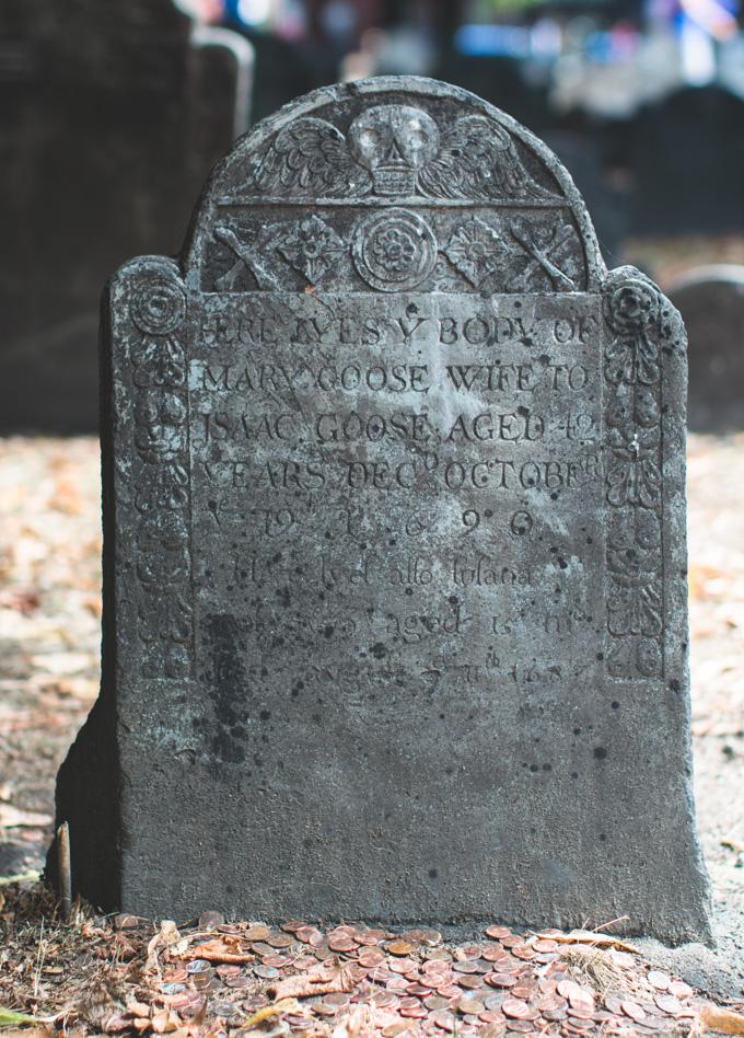mary goose, headstone, skull, Granary Burying Ground