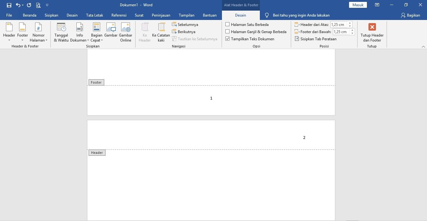 Cara Membuat Nomor Halaman Berbeda Pada Microsoft Word