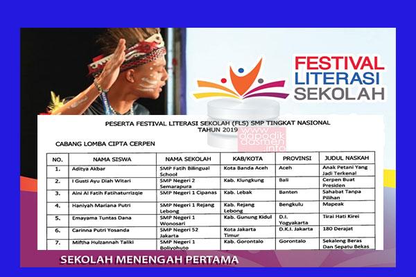 Daftar Peserta FLS SMP Tingkat Nasional Tahun 2019-2020, Penetapan Finalis FLS SMP Tingkat Nasional Tahun 2019, Daftar Finalis Festival Literasi Sekolah (FLS) SMP Tingkat Nasional Tahun 2019
