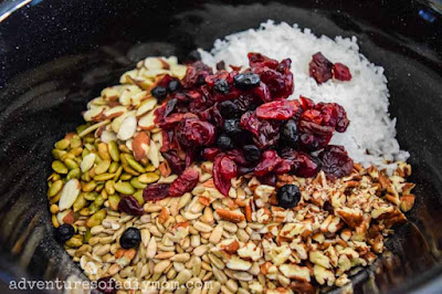 ingredients for granola in a crockpot