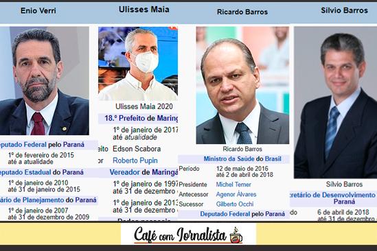 Os políticos maringaenses Enio Verri, Ulisses Maia, Ricardo Barros e Silvio Barros