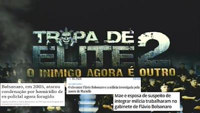 Cartz de Tropa de Elie 3 com manchetes do apoio dos Bolsonaro às milícias