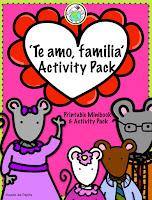 Te amo familia Spanish Theme Pack for Valentine's Day preschool