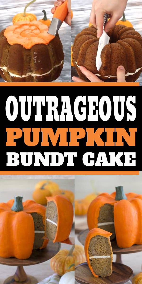 This show-stopping pumpkin bundt cake might look just like a real pumpkin but don't forget, it tastes amazing too! A moist pumpkin cake loaded with all your favorite fall spices, filled with cream cheese frosting and enrobed in vanilla buttercream! #pumpkin #pumpkincake #cake #bundtcake #buttercream #fall