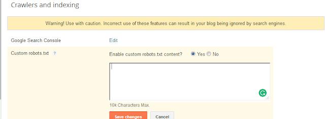 blogspot seo-custom robots text