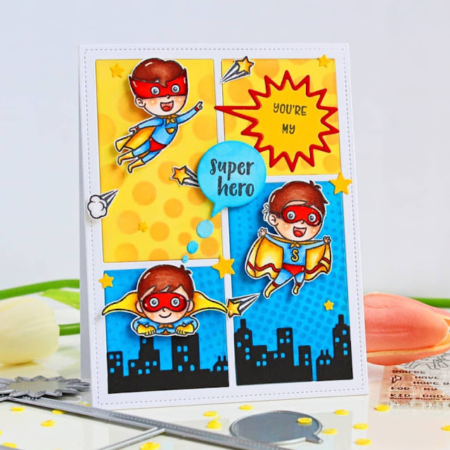 Sunny Studio Stamps: Super Duper & Comic Strip Speech Bubble Dies Customer Card by Chitra
