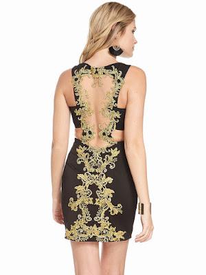 Scoop Neckline Alyce Paris Short Homecoming Dress Black-gold Back side