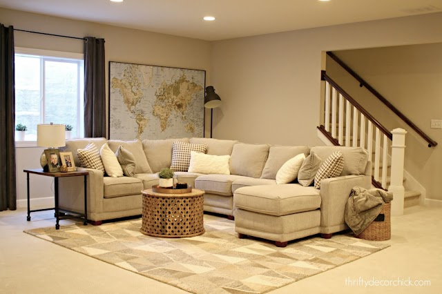 Lazboy gray sectional with chaise