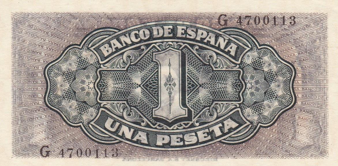 Spain money currency 1 Peseta banknote 1940
