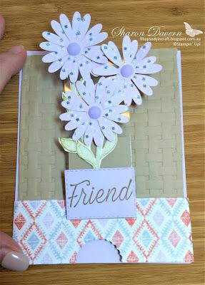 Purple Posy, Fancy fold, Slider Pop up card, Daisy Lane, Floral Essence, Rhapsodyincraft, Art with heart