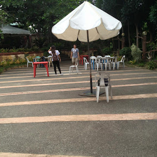 Open space beside swimming pool at Senen's Mountain Resort in Lilo-an, Cebu, Philippines