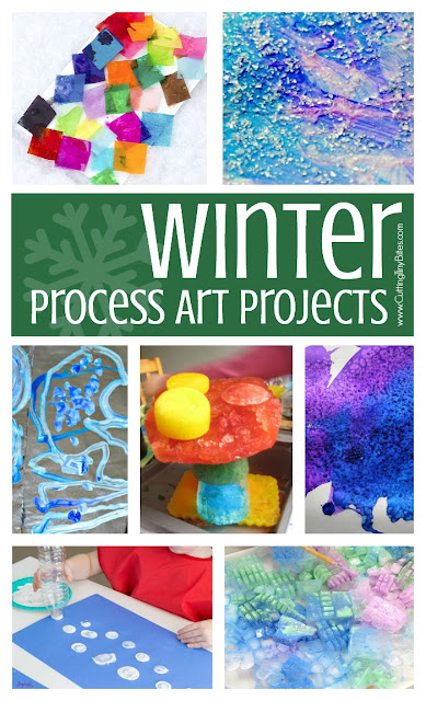 Winter Process Art- Great collection of 20 ideas for winter process art for toddlers, preschoolers, kindergartners, and elementary kids.  You'll find painting, stamping, collages, sculpture, and more!