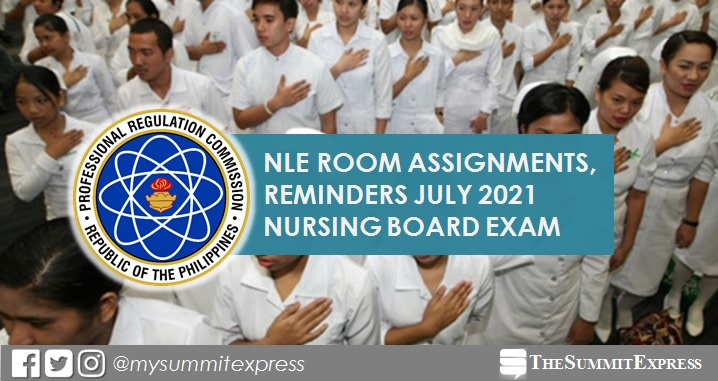Room Assignment for July 2021 NLE nursing board exam