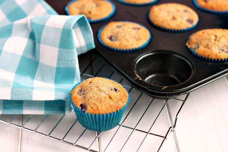Blackberry & Raspberry Muffins in baking tin