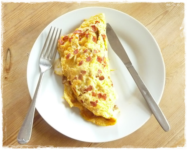 potato, caramelised onion, chipotle and cheddar omelette flecked with crisp chorizo