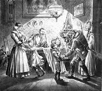 Hl. Nikolaus mit Krampus, Zeitungsillustration von 1896