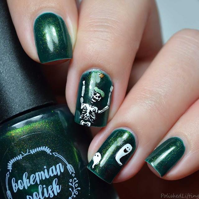 halloween skeleton nail art