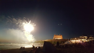 Fireworks off the headland at the Fistral Night Surf 2017