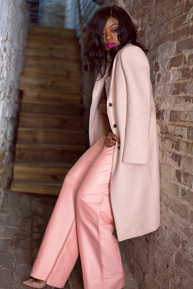 Solace london wide leg pants, pink coat, www.jadore-fashion.com