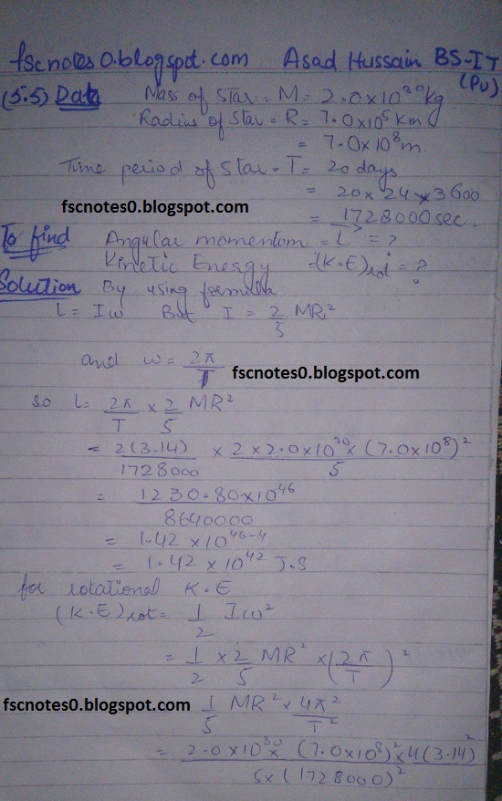 F.Sc ICS Notes: Physics XI: Chapter 5 Circular Motion Numerical Problems by Asad Hussain 3