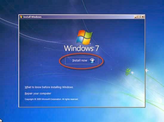Instalare windows - apasarea tastei Install now