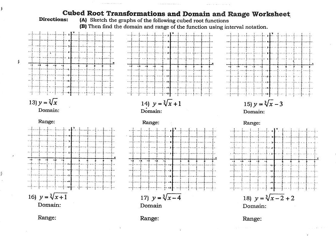 Graphing Cube Root Functions Worksheet