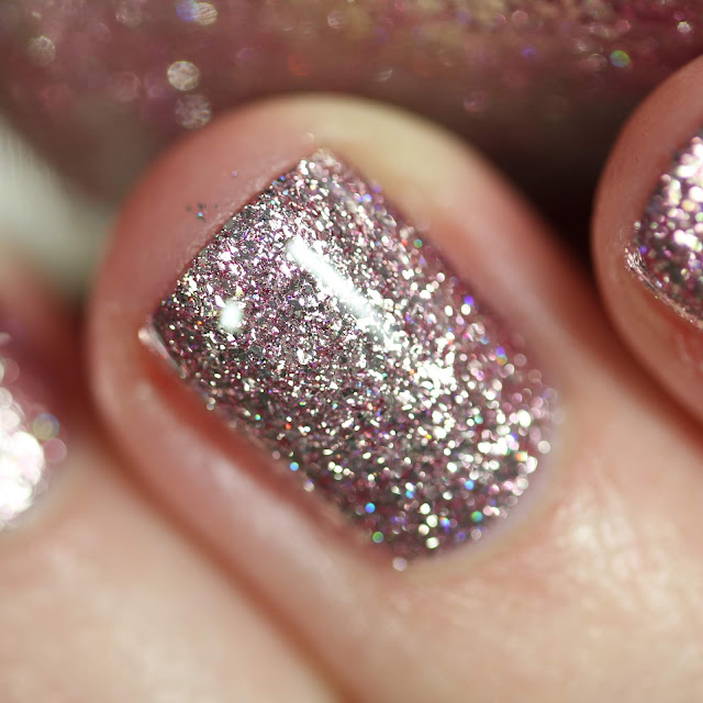 KBShimmer Isle Drink to That swatch metallic pink and silver nail polish