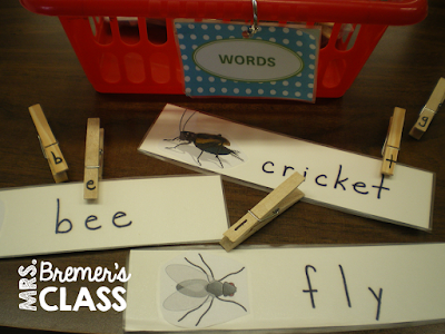 Literacy center ideas and activities for Kindergarten with a bug theme