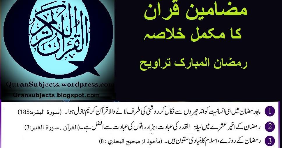 مضامین قرآن کا مکمل خلاصہ (30 پارے )
