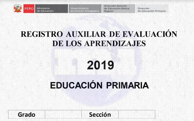 Registro Auxiliar 2019 para primaria