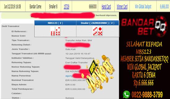 Jackpot 6 Dewa Bandar Ceme Online Kembali Lagi Jatuh Kepada Member Cemebetqq - Bandarbetqq