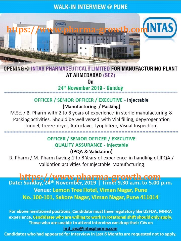 Intas Pharma – Walk in interview for Production | Packing | Quality Assurance on 24th Nov' 2019