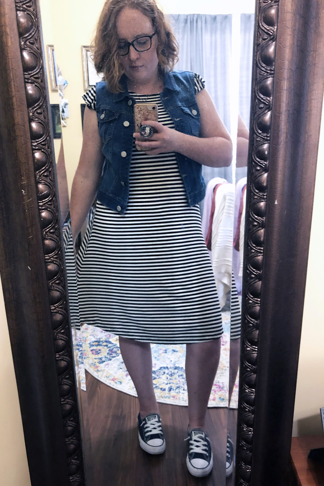 striped dress with denim vest and converse