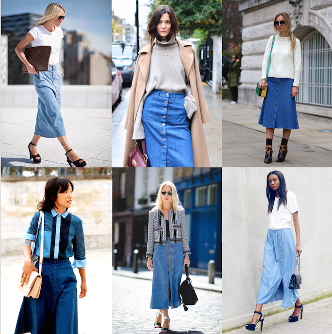 Button Front Denim Midi Skirt streetstyle