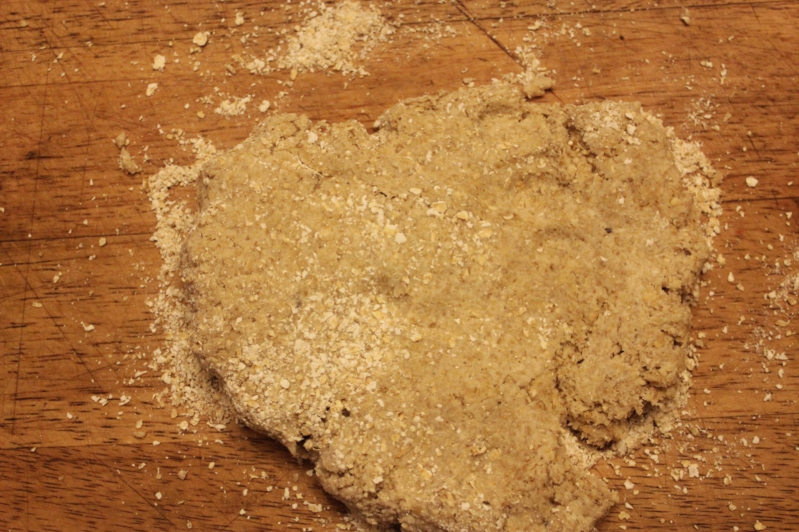 Kneaded dough for organic Scottish oatcakes