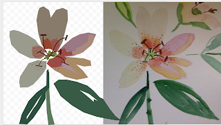 Vector Drawing of Single Lily Flower on Left, Watercolor of same Lily Flower on Right