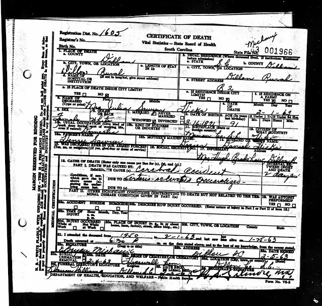 Jewel Sawyer's Death Certificate