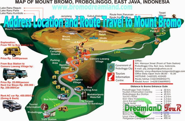 Address Location and Route Travel to Mount Bromo