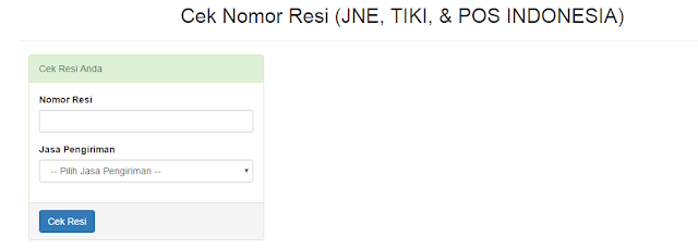 Script PHP Web Developer Gratis Siap pakai Untuk Cek Nomor Resi (JNE, TIKI, & POS INDONESIA)