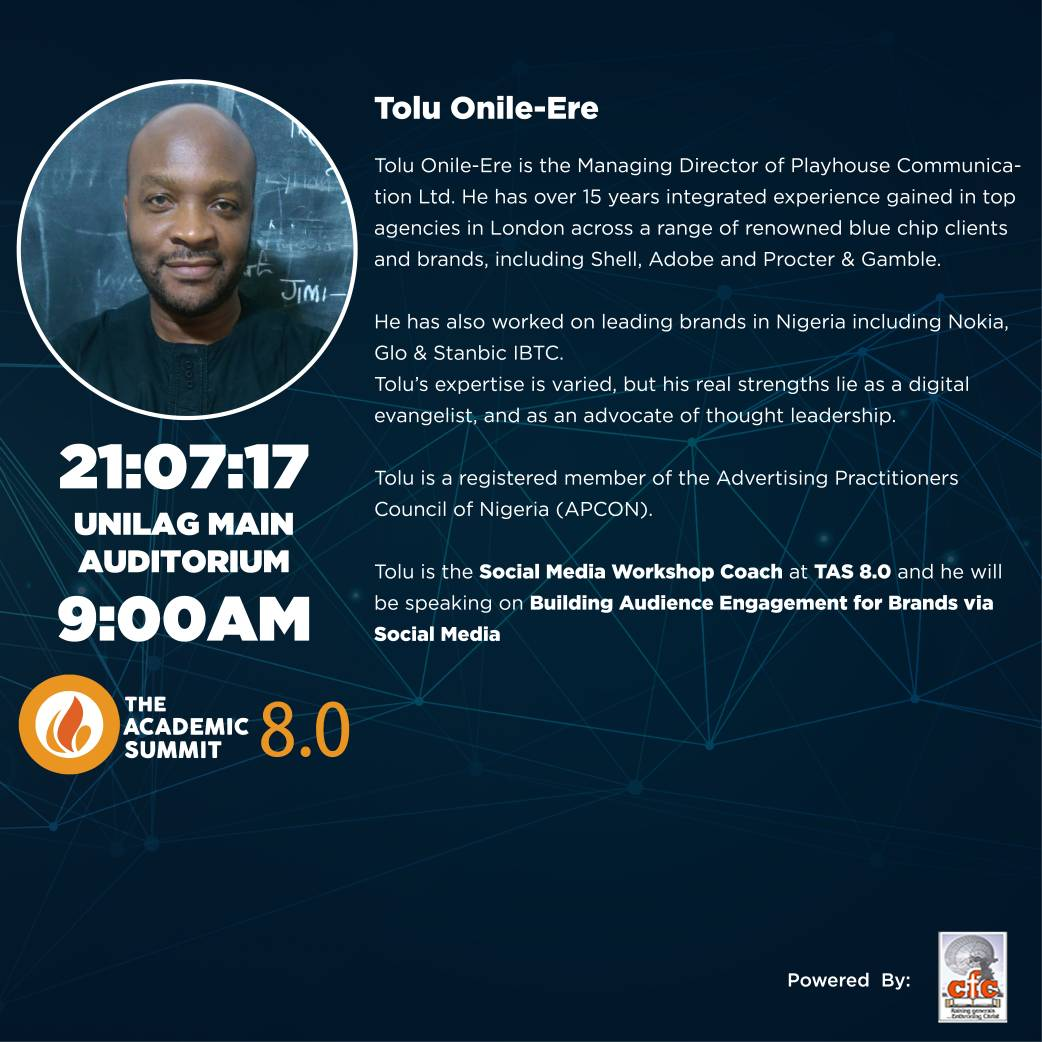 Tolu Onile-Ere Will Be Coming To The Academic Summit 8.0