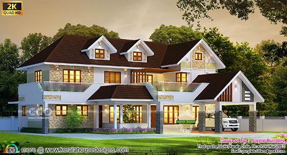 sloping roof 4 bedroom home