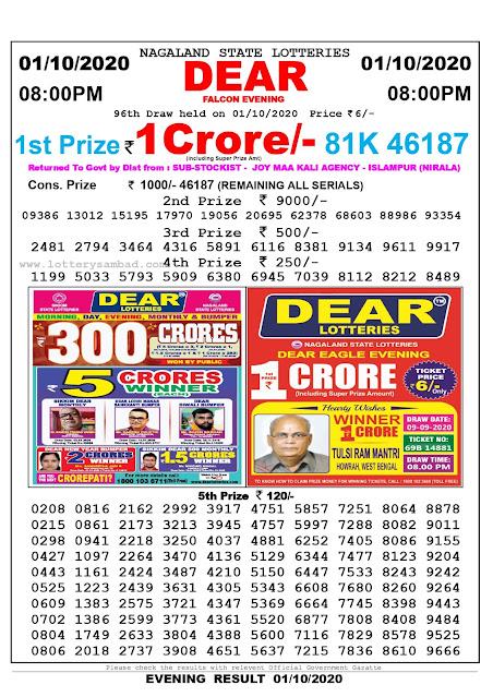Lottery Sambad Result 01.10.2020 Dear Falcon Evening 8:00 pm
