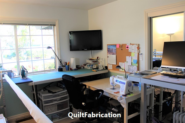 QuiltFabrication new sewing and cutting table area