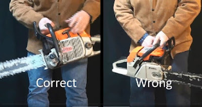 Split screen of correct and incorrect hand positions for yo-yo starting a chainsaw