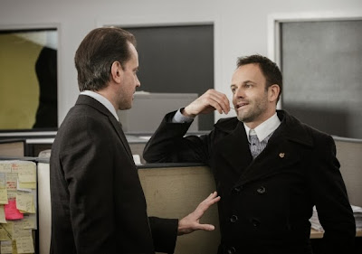 Danny Mastrogiorgio guest stars as James Dylan with Jonny Lee Miller as Sherlock Holmes in CBS Elementary Season 2 Episode 10 Tremors