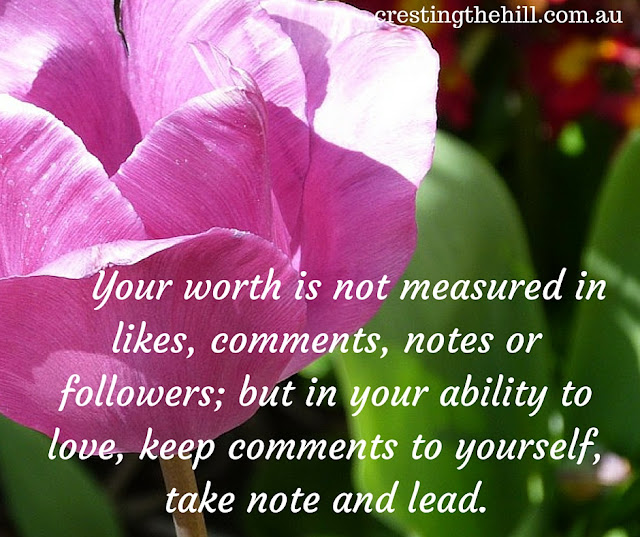 your worth is not measured in likes, comments, notes or followers