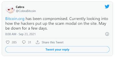 cobra hesaplı twitter kullancısı bitcoin sitesinin çevrimdışı olacağını söyledi