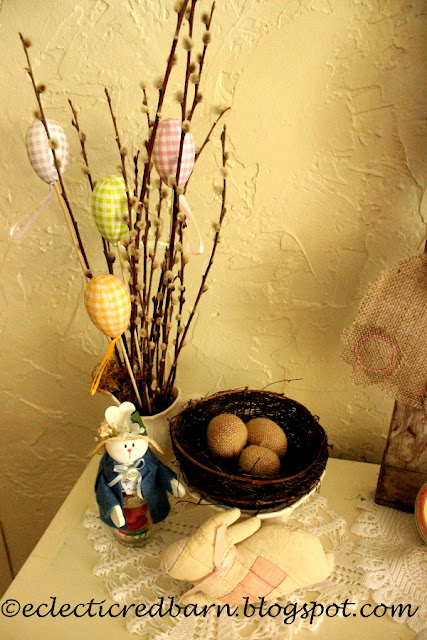 Eclectic Red Barn:  Easter Display with birds nest