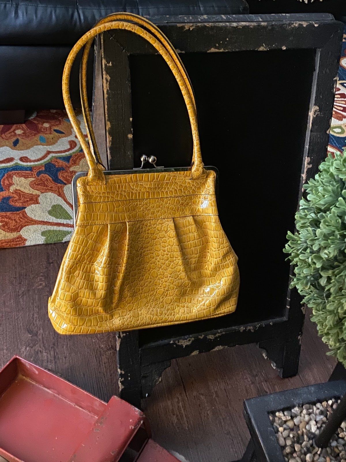 Yellow 70s Handbag From The Thrift Store. Thrift Bits And Favorites